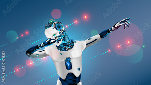 Robot or cyborg dabbing on party Wallpaper Mural