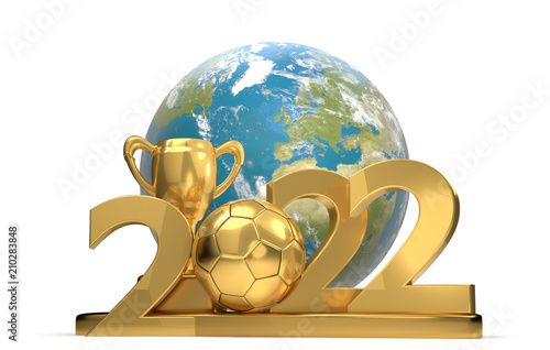 Poster  2022 soccer ball soccer trophy with planet earth world 3d-illustration