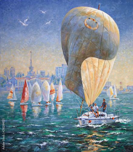 Pinturas sobre lienzo  Artwork. Inflated sail on a yacht. Author: Nikolay Sivenkov.