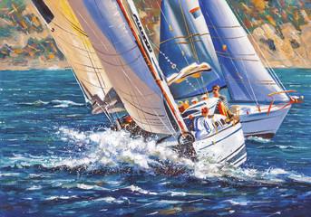 Fototapeta Artwork. Sailing regatta. Author: Nikolay Sivenkov.