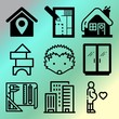Vector icon set about home with 9 icons related to autumn, play, stylish, furniture and nature