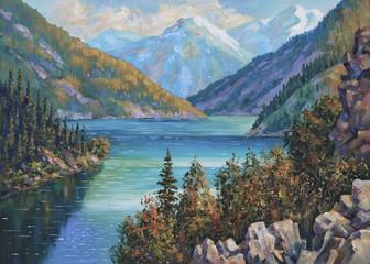 Fototapeta An oil painting on canvas. Kolsai Lake, Kazakhstan. Author: Nikolay Sivenkov.