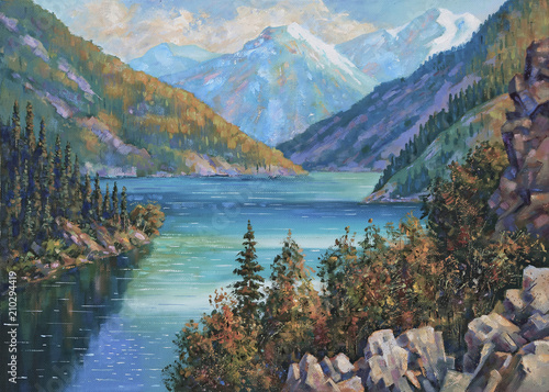 An oil painting on canvas. Kolsai Lake, Kazakhstan. Author: Nikolay Sivenkov.