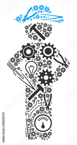 Gentleman akimbo composition of service instruments. Vector gentleman akimbo icon is composed of cogwheels, spanners and other service objects. Concept for industrial work. Wall mural