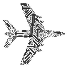 Jet Plane Mosaic Of Service Instruments. Vector Jet Plane Icon Is Designed Of Cogwheels, Wrenches And Other Technical Objects. Concept For Technical Workshop.