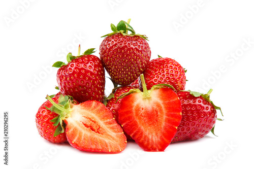 Deurstickers Dessert Fruits of strawberries isolated on white background