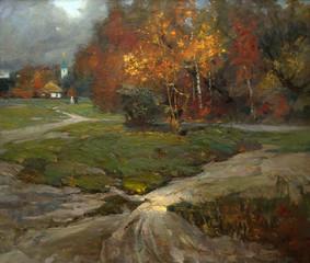 Fototapeta Wiejski landscape, oil painting, hand made