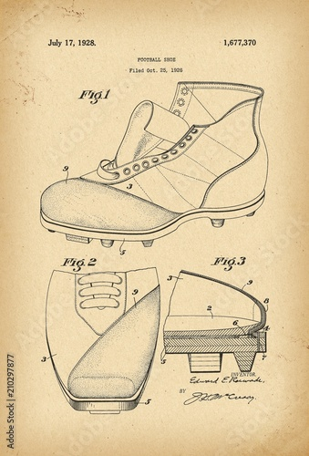 Photo 1926 Football shoe Patent history invention