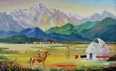 Fototapeta Kazakhstan. Yurt near the village. An oil painting on canvas. Author: Nikolay Sivenkov.