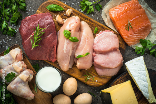 Fotografia Animal protein sources- meat, fish, cheese and milk.