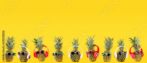 Foto op Aluminium Vruchten Summer photo of pineapple and yellow background of free space for your text.
