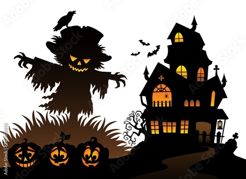 In de dag Voor kinderen Halloween scarecrow silhouette theme 3