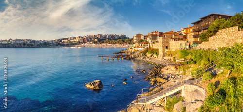 Foto op Aluminium Oude gebouw Coastal landscape banner, panorama - embankment with fortress wall in the city of Sozopol on the Black Sea coast in Bulgaria