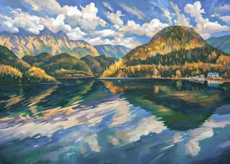Fototapeta Lake Ritsa in the autumn. Abkhazia. An oil painting on canvas. Author: Nikolay Sivenkov.