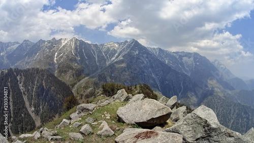 Foto auf Gartenposter Gebirge green mountain valley with snowy peaks and clouds
