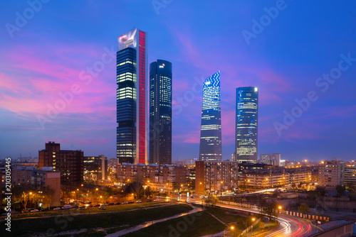 Foto auf Gartenposter Madrid Madrid Four Towers financial district skyline at twilight in Madrid, Spain.