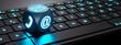 Leinwandbild Motiv Leuchtender Würfel mit Kommunikations-Symbolen auf Tastatur