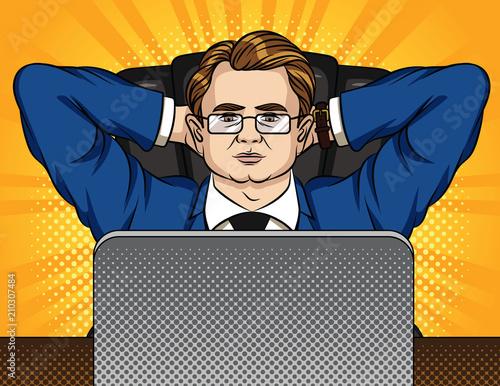 Brilliant Vector Comic Pop Art Style Illustration Of A Boss Sitting On Download Free Architecture Designs Scobabritishbridgeorg
