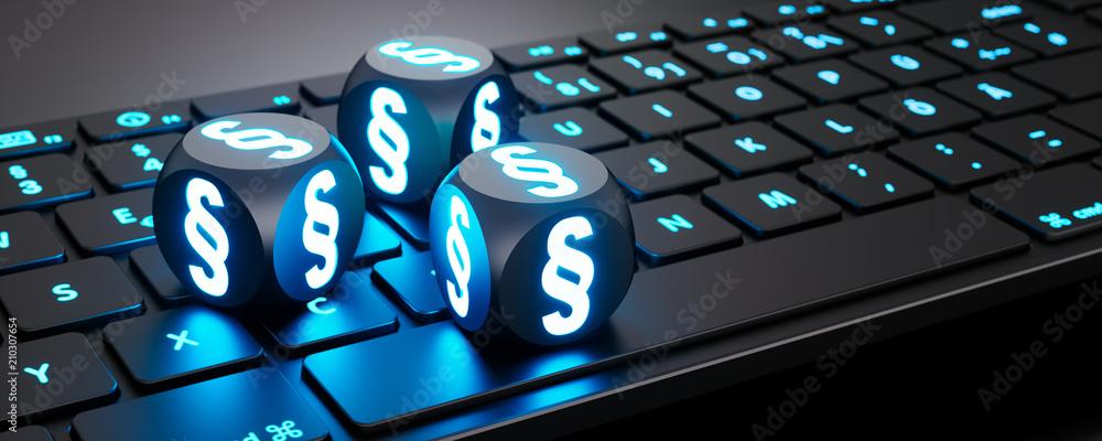 Fototapeta Leuchtende Würfel mit Paragraphen-Symbol auf Tastatur