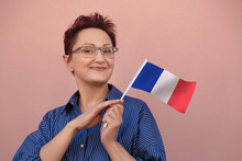 France Flag. Woman Holding Fre...