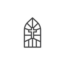 Church Stain Glass Window Outline Icon. Linear Style Sign For Mobile Concept And Web Design. Stained Glass With Cross Simple Line Vector Icon. Symbol, Logo Illustration. Pixel Perfect Vector Graphics