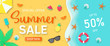 Summer sale background for banner, flyer, invitation, poster, web site or greeting card. Paper cut style, vector illustration