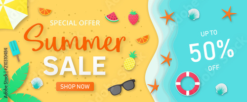 Obraz Summer sale background for banner, flyer, invitation, poster, web site or greeting card. Paper cut style, vector illustration - fototapety do salonu
