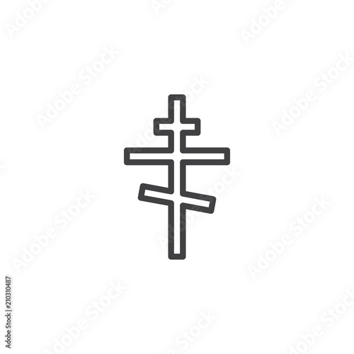 Orthodox Religion Cross Outline Icon Linear Style Sign For Mobile