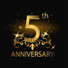 5th Anniversary Logo With Gold...