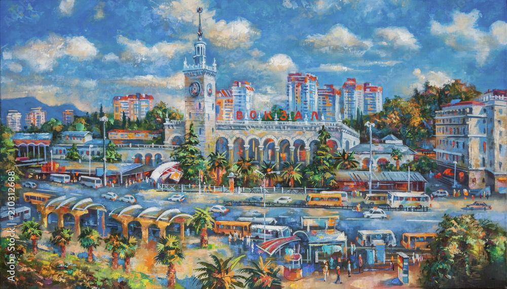 Obraz olejny na płótnie. Stacja kolejowa Soczi, krajobraz architektoniczny ukochanego miasta Soczi. Autor: Nikolay Sivenkov.