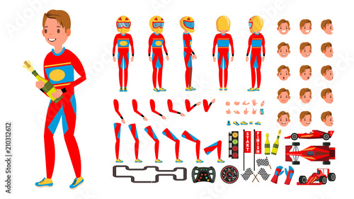 Cartoon voitures Sport Car Racer Male Vector. Red Uniform. Rally Race Car Driver. Animated Character Creation Set. Man Full Length, Front, Side, Back View. Auto Drawing Accessories, Emotions, Gestures. Illustration