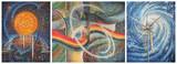 Malarstwo, tryptyk: Energia słońca, wody i wiatru. Obraz olejny na płótnie. Autor: Nikolay Sivenkov.