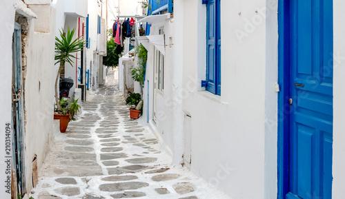 Narrow street with white houses, Greece Canvas Print