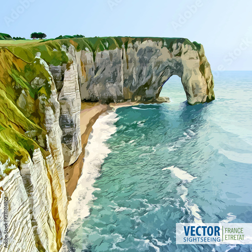 Spectacular natural cliffs Aval of Etretat and beautiful coastline Canvas Print