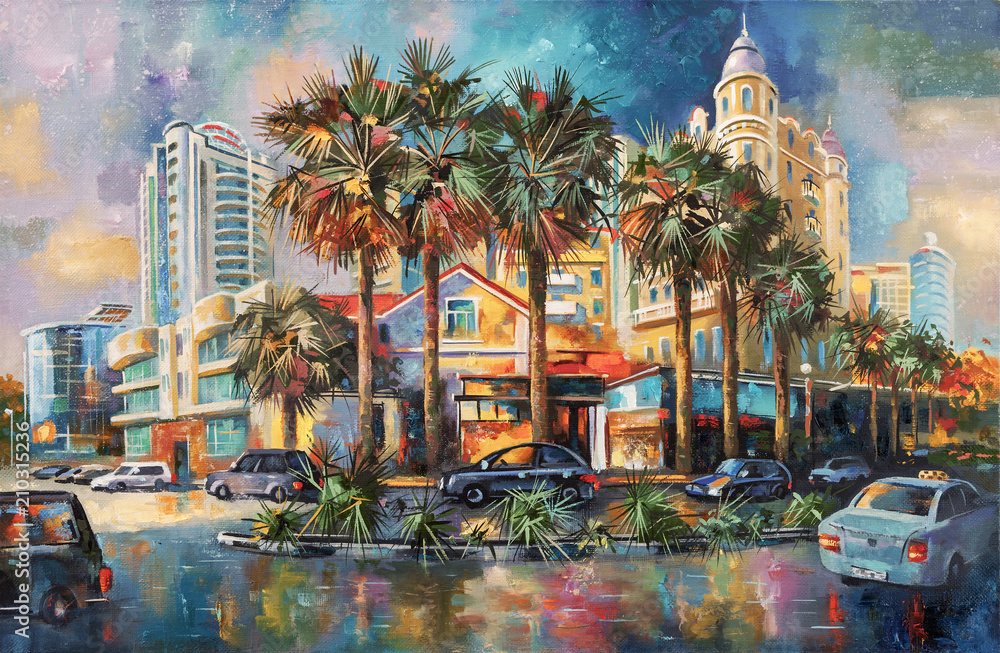 Fototapety, obrazy: Street after rain. Architectural landscape of the beloved city of Sochi. Painting: canvas, oil. Author: Nikolay Sivenkov.