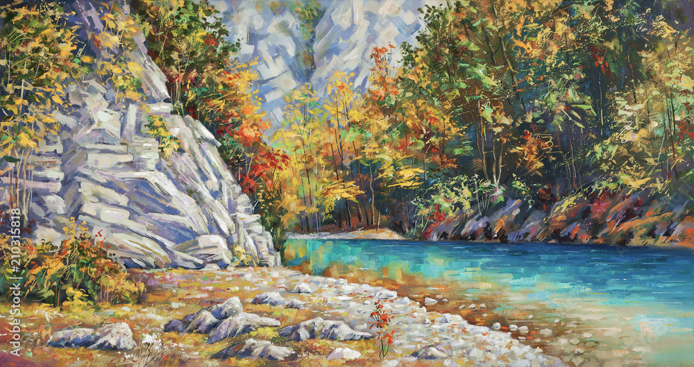 Fototapety, obrazy: Late autumn on the river Khosta. Mountain landscape of Sochi national park. Painting: canvas, oil. Author: Nikolay Sivenkov.