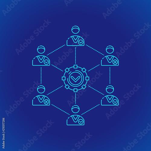 blockchain distributed ledger technology illustration. Canvas Print
