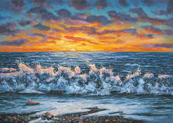 Fototapeta A bright sunset during a storm. An oil painting on canvas. Author: Nikolay Sivenkov.