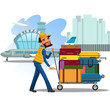 Man carries trolley with luggage for loading in airplane, transportation of suitcases and travel bags by attendants at the airport vector illustration