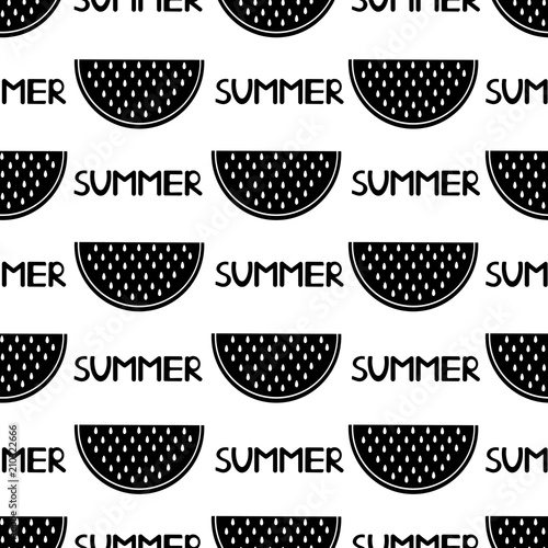 Cotton fabric Seamless pattern with black watermelon slices and words summer on the white background.