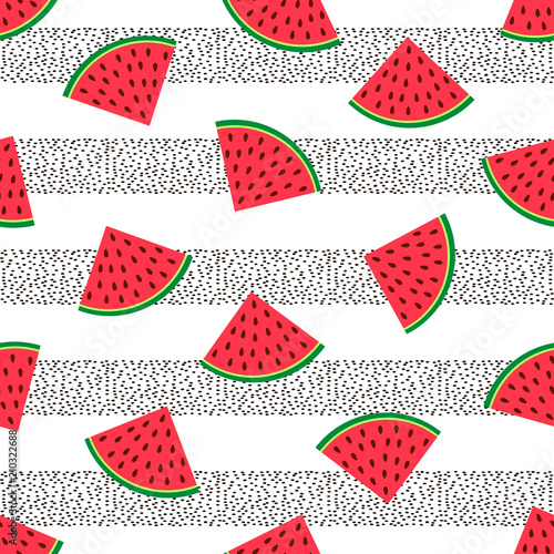Cotton fabric Seamless pattern with colorful watermelons slices