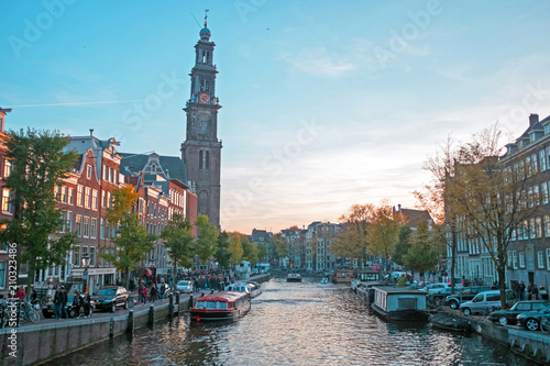 Photo  City scenic from Amsterdam with the Westerkerk in the Netherlands