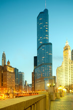Chicago, Illinois, United States -  Downtown City Skyline At Night.