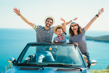 Happy Family Travel By Car To ...