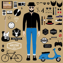Hipster Character With Hipster Design Element Set