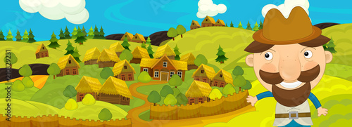 cartoon scene with farmer walking near farm village - illustration for children Tapéta, Fotótapéta