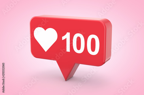 Social Media Network Love and Like Heart Icon. 3d Rendering