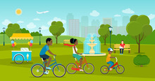 Vector Summertime Flat Style  Illustration. People In The Park