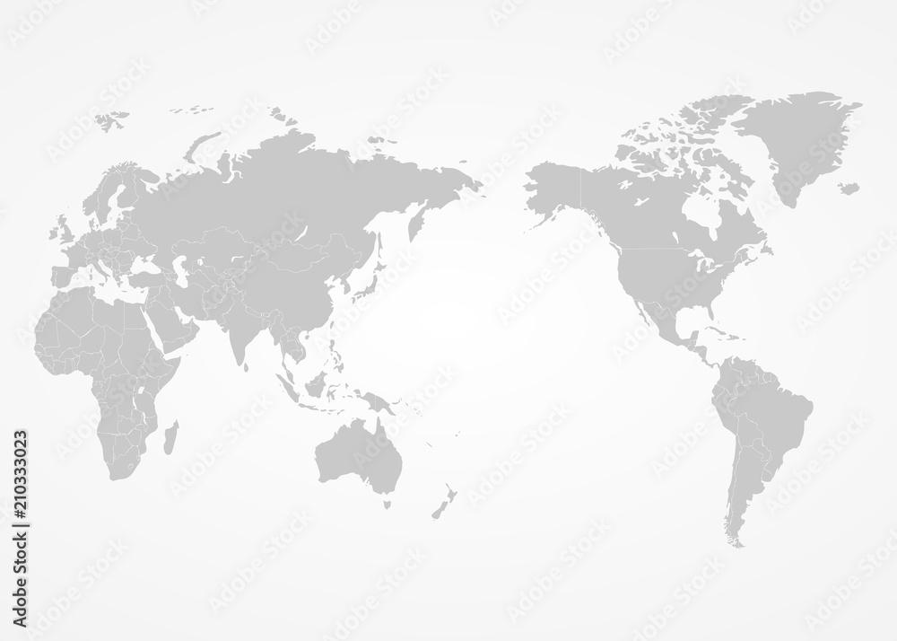 Fototapeta World map centre Asia