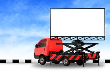 Billboard Blank On Car Red Truck LED Panel For Sign Advertising Isolated On Background Sky, Large Banner And Billboard Roadside For An Advertisement Large